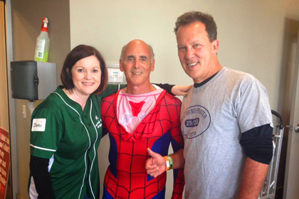 Jack Prim in a Spiderman outfit after participating in a charity event