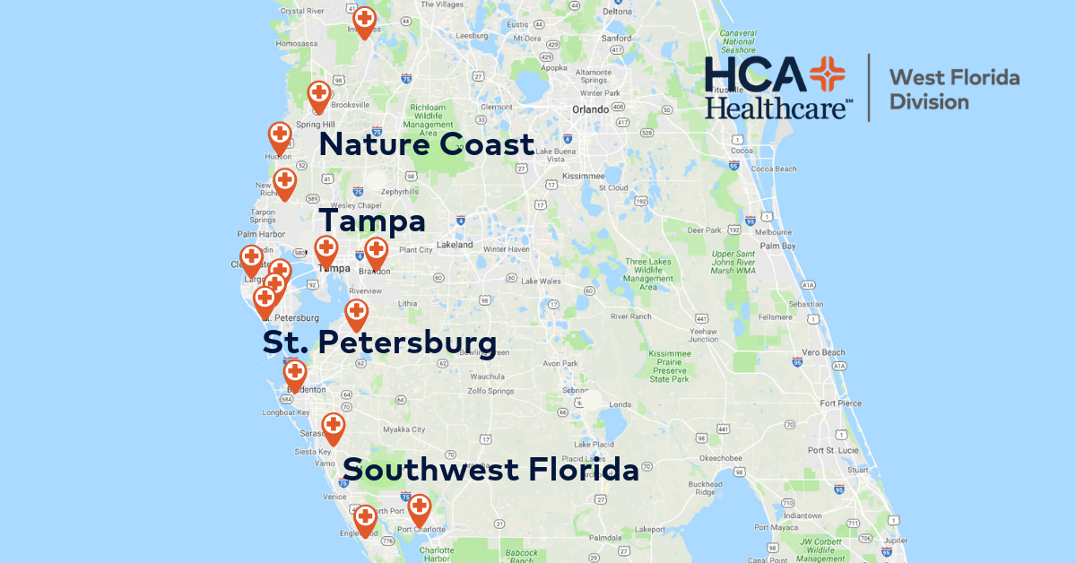 HCA Healthcare West Florida Division Facility Map