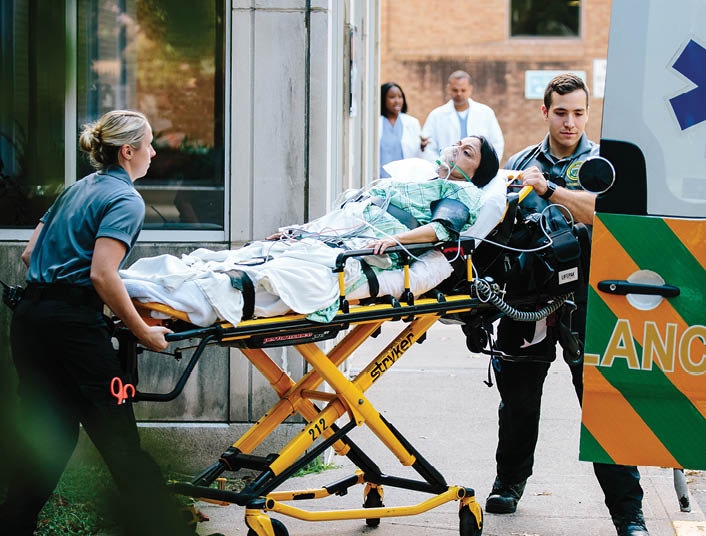 woman on stretcher