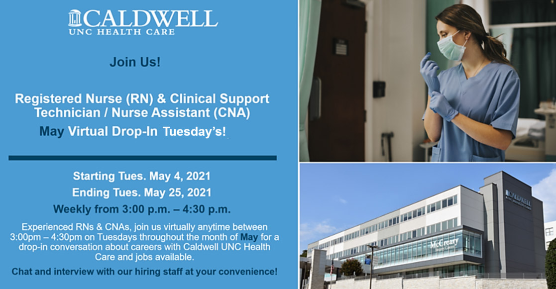 EVENT BANNER -  Registered Nurse (RN) & Clinical Support Technician / Nurse Assistant (CNA) May Virtual Drop-in Tuesdays